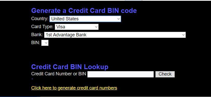 موقع توليد ارقام بطاقة الإئتمان حسب الدولة التي تريدها