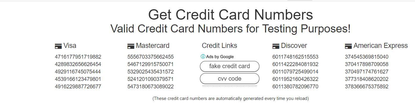getcreditcardnumbers