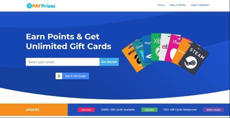 موقع PayPrizes للحصول على بطاقات جوجل بلاي مجانا