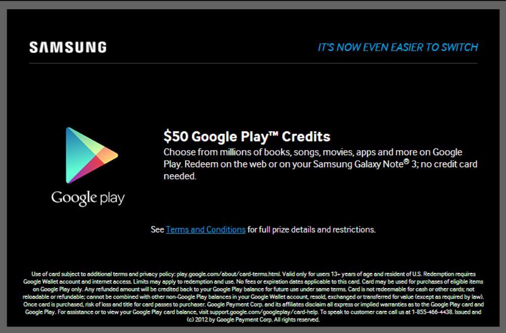 استعمال هاتف samsung للحصول على بطاقات جوجل بلاي